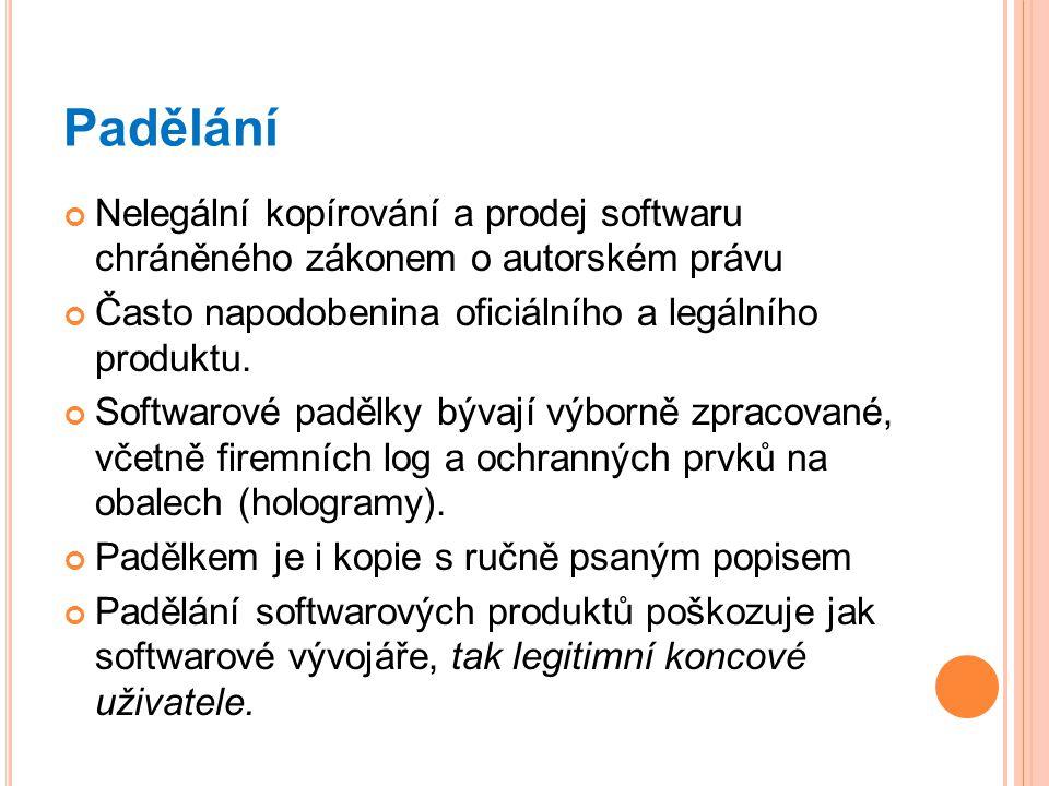 Padělání Nelegální kopírování a prodej softwaru chráněného zákonem o autorském právu Často napodobenina oficiálního a legálního produktu. Softwarové p