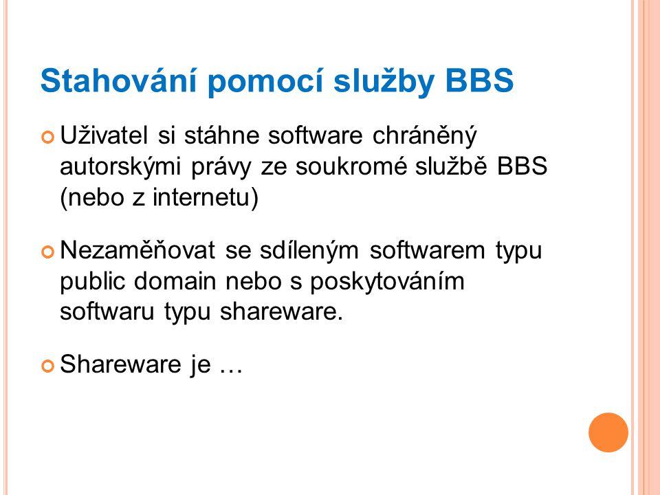 Stahování pomocí služby BBS Uživatel si stáhne software chráněný autorskými právy ze soukromé službě BBS (nebo z internetu) Nezaměňovat se sdíleným so