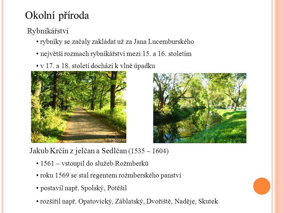 Okolní příroda Rybníkářství rybníky se začaly zakládat už za Jana Lucemburského největší rozmach rybníkářství mezi 15. a 16. stoletím v 17. a 18. stol