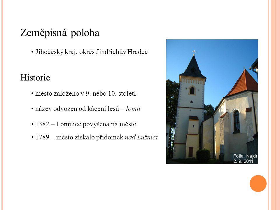 Zeměpisná poloha Historie Jihočeský kraj, okres Jindřichův Hradec město založeno v 9.