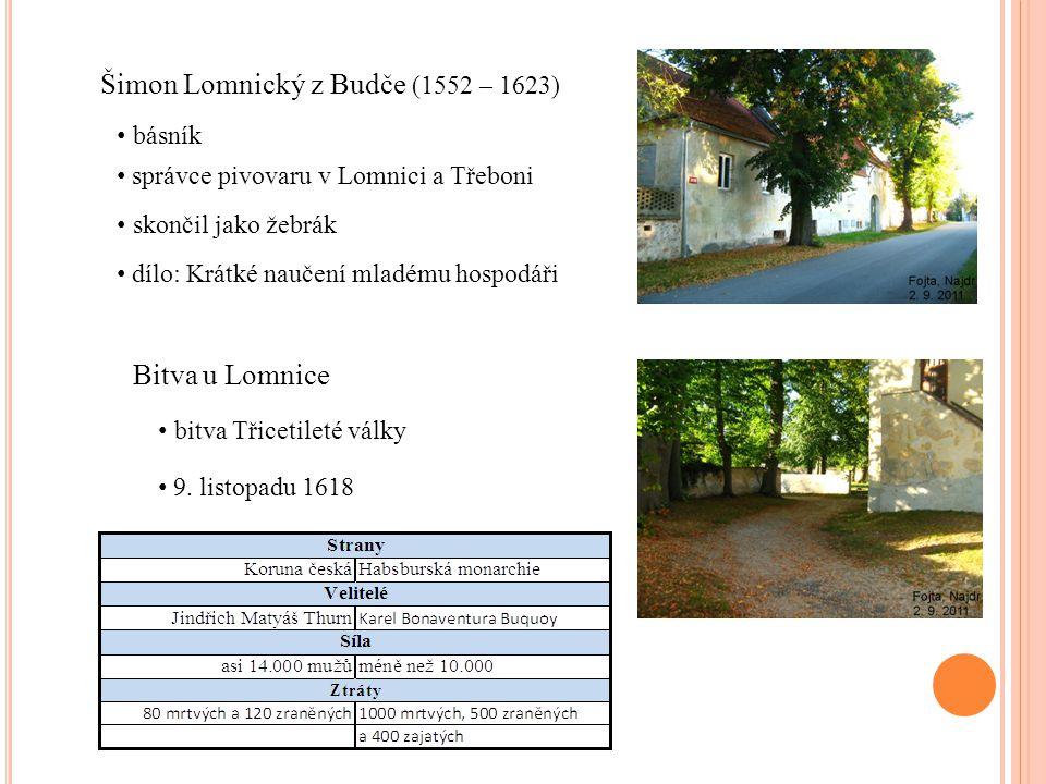 Šimon Lomnický z Budče (1552 – 1623) správce pivovaru v Lomnici a Třeboni skončil jako žebrák básník dílo: Krátké naučení mladému hospodáři Bitva u Lo