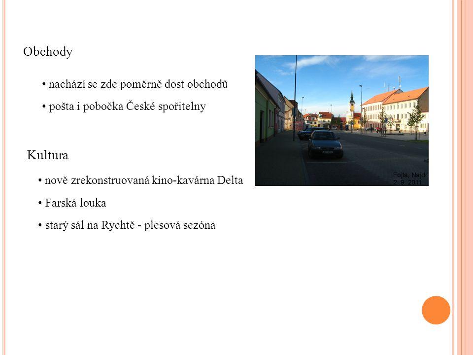 Obchody nachází se zde poměrně dost obchodů pošta i pobočka České spořitelny Kultura nově zrekonstruovaná kino-kavárna Delta Farská louka starý sál na Rychtě - plesová sezóna
