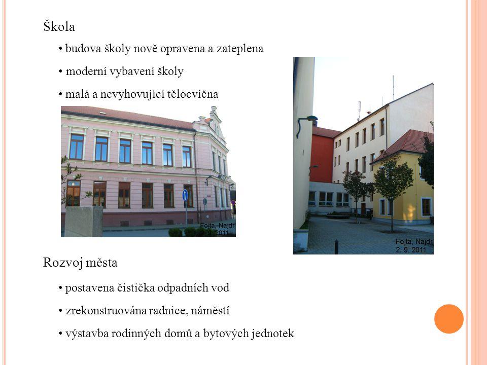 Škola budova školy nově opravena a zateplena moderní vybavení školy malá a nevyhovující tělocvična Rozvoj města postavena čistička odpadních vod zreko