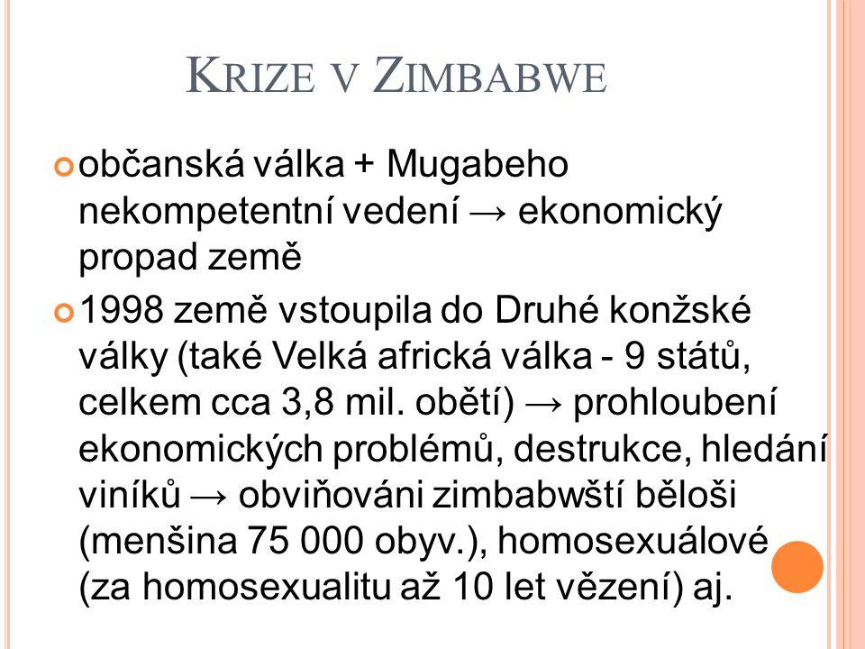 K RIZE V Z IMBABWE občanská válka + Mugabeho nekompetentní vedení → ekonomický propad země 1998 země vstoupila do Druhé konžské války (také Velká africká válka - 9 států, celkem cca 3,8 mil.