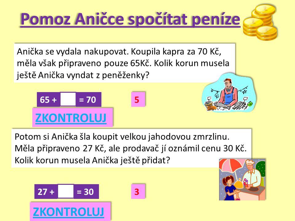 Pomoz Aničce spočítat peníze Anička se vydala nakupovat.
