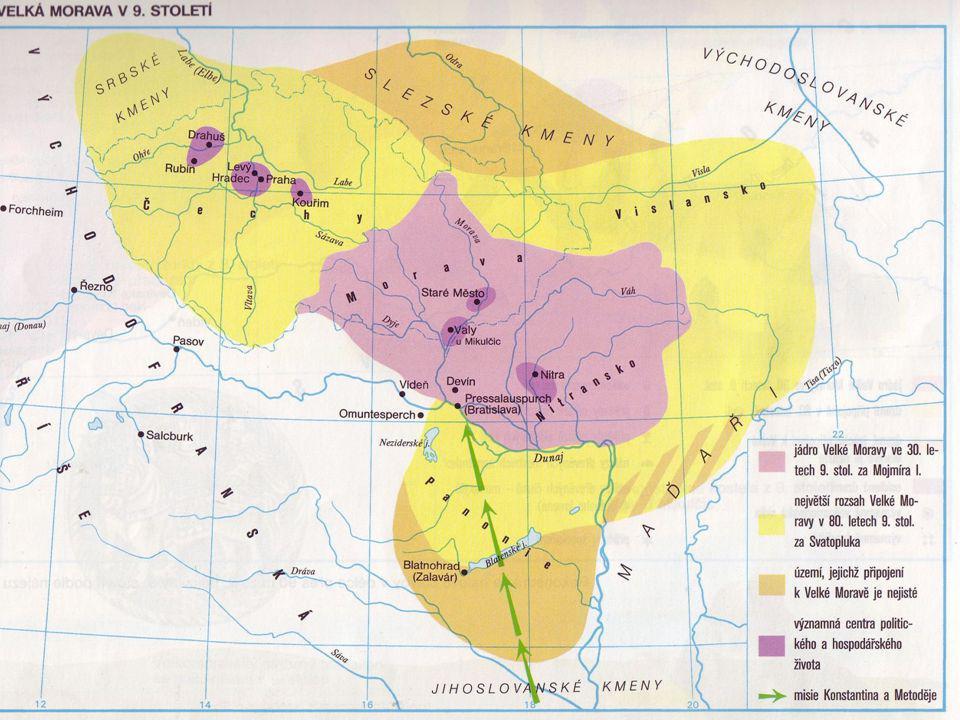 Misie Konstantina (Cyrila) a Metod ě je Rastislav Druhým panovníkem po Mojmírovi je Rastislav (846 – 870) vedl s Franky úspěšnou válku, uhájil samostatnost velkomoravské říše z východofranské říše přichází misionáři, aby šířili křesťanství, chtějí totiž dostat VM do závislosti na francké říši Rastislav požádal o pomoc byzantského císaře přichází byzantští kněží mluvící slovanským jazykem - bratři KONSTANTIN a METODĚJ - na Moravu R.