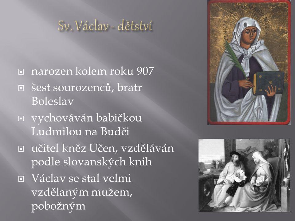  Ludmila se starala o nezletilé děti  Drahomíra vládne zemi za syna Václava  mezi ženami rozpory (výchova synů, politická orientace)  Ludmila se stáhne do ústraní na svůj hrad Tetín  Drahomíra poslala na Tetín vikingské nájemné vrahy Tunnu a Gomona  15./16.září 921 byla Ludmila uškrcena vlastním závojem  925 převezeny ostatky do kostela sv.