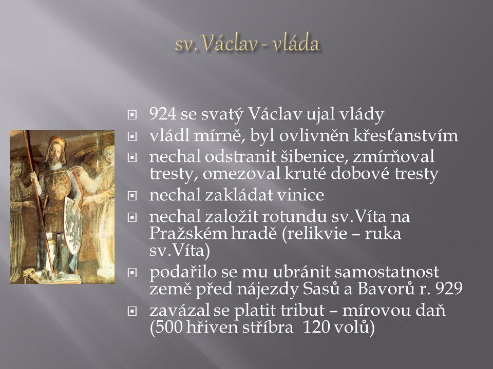  Václav měl neshody s bratrem Boleslavem (nechtěl platit tribut, ale bojovat)  Boleslav pozval Václava na hostinu na svůj hrad ve Staré Boleslavi  28.září 935 byl zavražděn před vraty kostela Boleslavovými družiníky Tirem a Hněvsou, kteří ho probodli mečem  Boleslav se stal novým vládcem  Později nechal převézt Václavovy ostatky na Pražský hrad