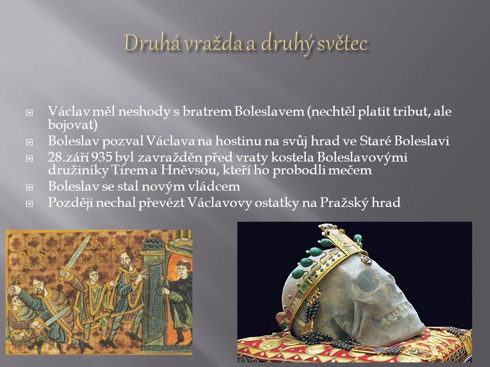  Václav měl neshody s bratrem Boleslavem (nechtěl platit tribut, ale bojovat)  Boleslav pozval Václava na hostinu na svůj hrad ve Staré Boleslavi 