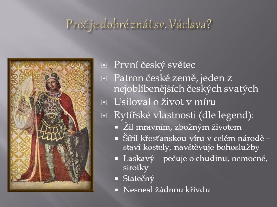  První český světec  Patron české země, jeden z nejoblíbenějších českých svatých  Usiloval o život v míru  Rytířské vlastnosti (dle legend):  Žil