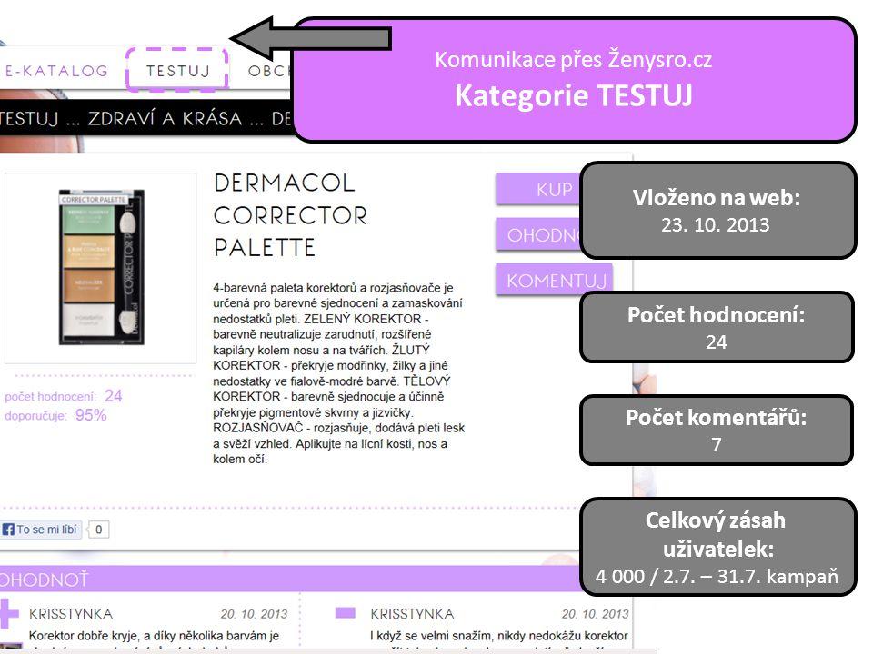 Vloženo na web: 23. 10. 2013 Počet hodnocení: 24 Počet komentářů: 7 Celkový zásah uživatelek: 4 000 / 2.7. – 31.7. kampaň Komunikace přes Ženysro.cz K