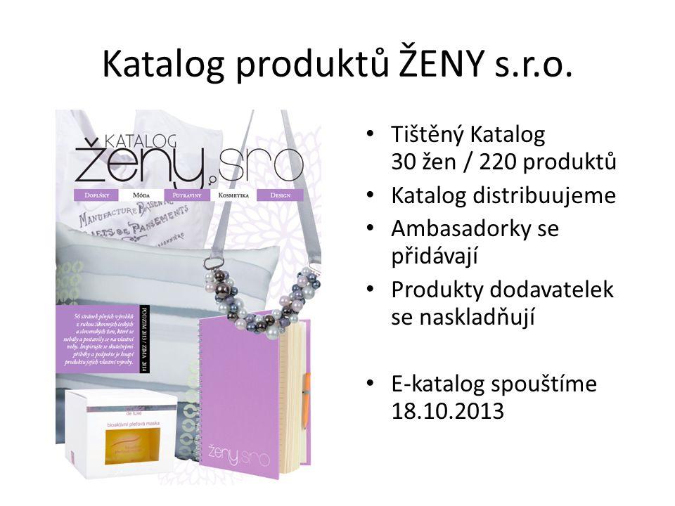 Katalog produktů ŽENY s.r.o. Tištěný Katalog 30 žen / 220 produktů Katalog distribuujeme Ambasadorky se přidávají Produkty dodavatelek se naskladňují