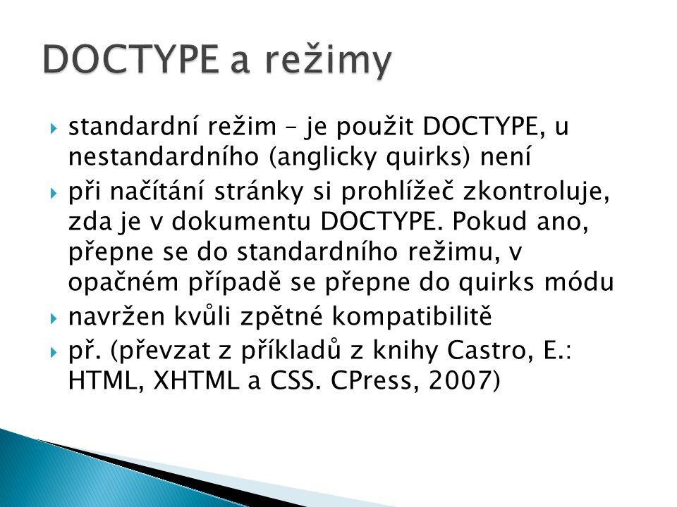  standardní režim – je použit DOCTYPE, u nestandardního (anglicky quirks) není  při načítání stránky si prohlížeč zkontroluje, zda je v dokumentu DO