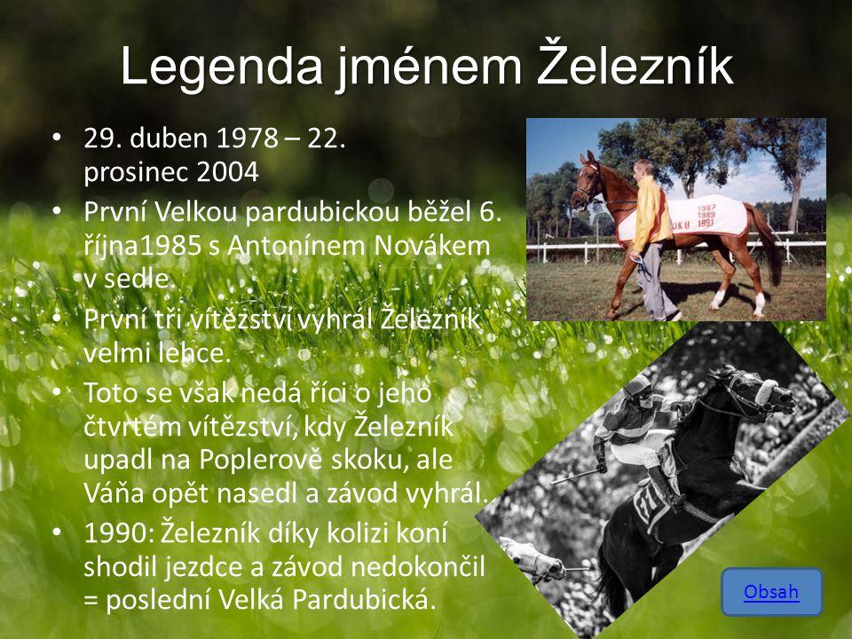 Legenda jménem Železník 29. duben 1978 – 22. prosinec 2004 První Velkou pardubickou běžel 6. října1985 s Antonínem Novákem v sedle. První tři vítězstv