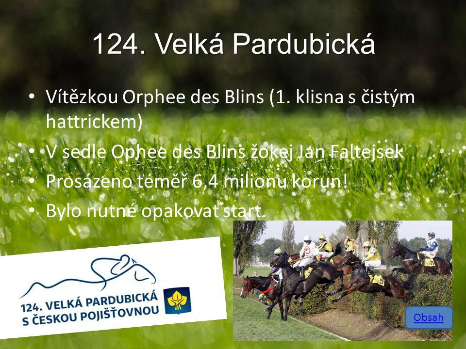 124. Velká Pardubická Vítězkou Orphee des Blins (1. klisna s čistým hattrickem) V sedle Ophee des Blins žokej Jan Faltejsek Prosázeno téměř 6,4 milion