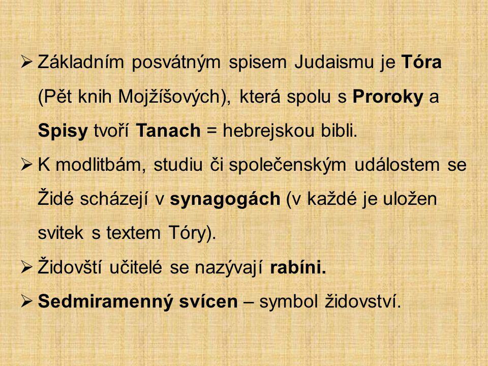 Židovské svátky:  Šabat – sobota je dnem oddechu.