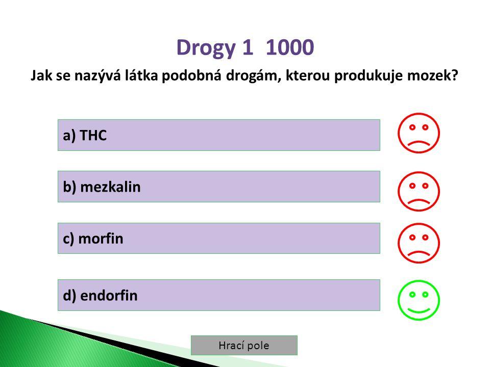 Hrací pole Drogy 1 1000 Jak se nazývá látka podobná drogám, kterou produkuje mozek.