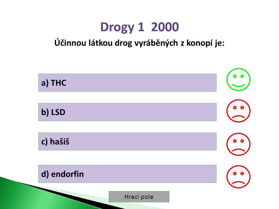 Hrací pole Drogy 1 2000 Účinnou látkou drog vyráběných z konopí je: a) THC b) LSD c) hašiš d) endorfin