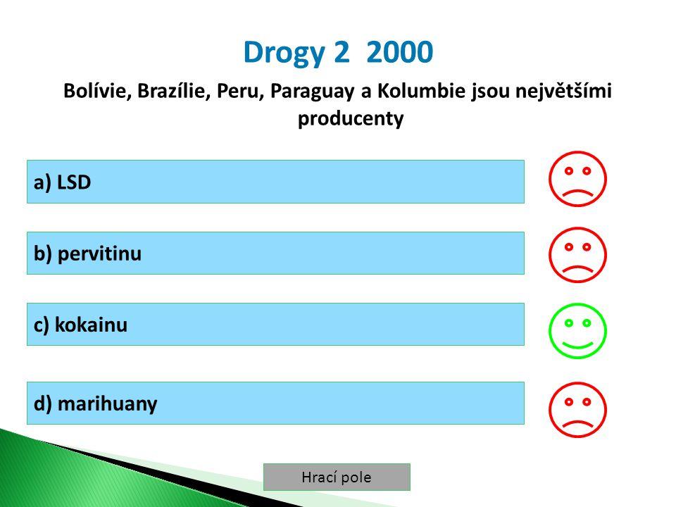 Hrací pole Drogy 2 2000 Bolívie, Brazílie, Peru, Paraguay a Kolumbie jsou největšími producenty a) LSD b) pervitinu c) kokainu d) marihuany