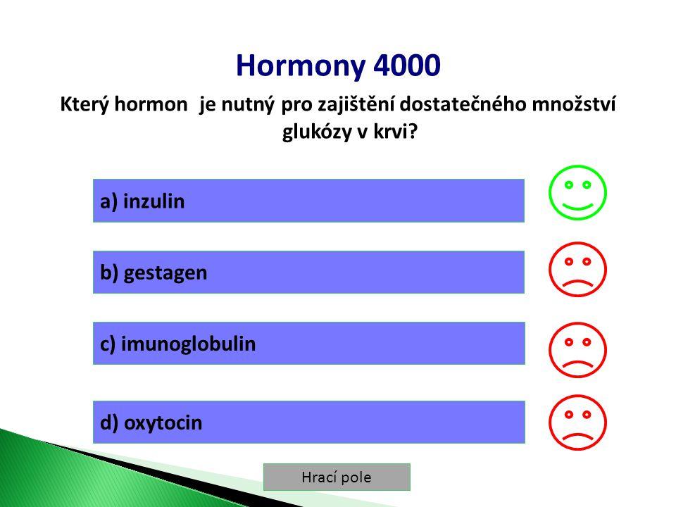 Hrací pole Hormony 4000 Který hormon je nutný pro zajištění dostatečného množství glukózy v krvi.