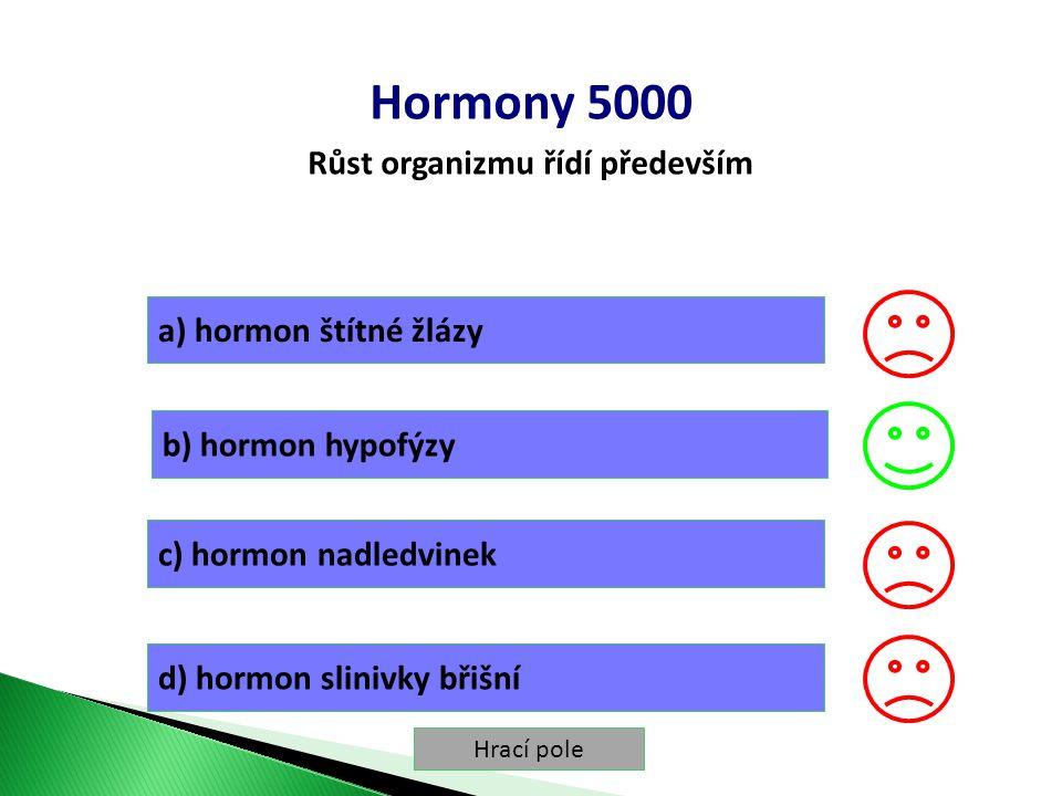 Hrací pole Hormony 5000 Růst organizmu řídí především a) hormon štítné žlázy b) hormon hypofýzy c) hormon nadledvinek d) hormon slinivky břišní
