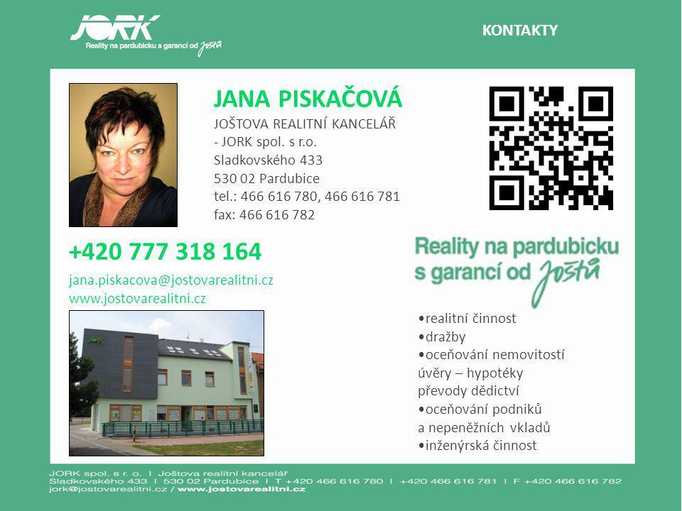 KONTAKTY JANA PISKAČOVÁ JOŠTOVA REALITNÍ KANCELÁŘ - JORK spol.