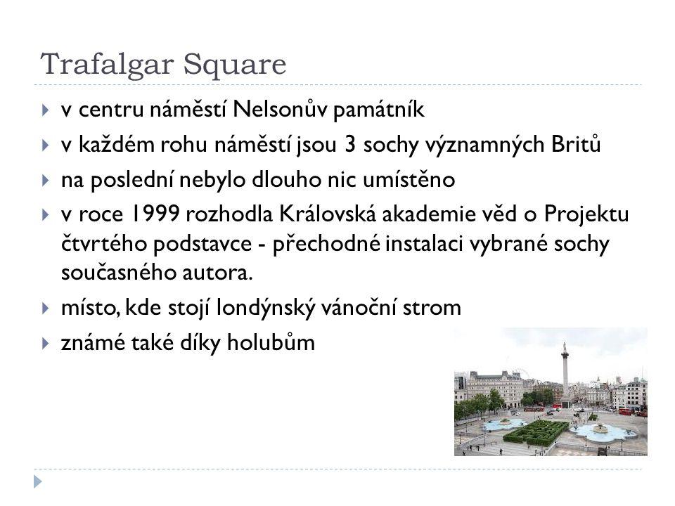 Trafalgar Square  v centru náměstí Nelsonův památník  v každém rohu náměstí jsou 3 sochy významných Britů  na poslední nebylo dlouho nic umístěno 