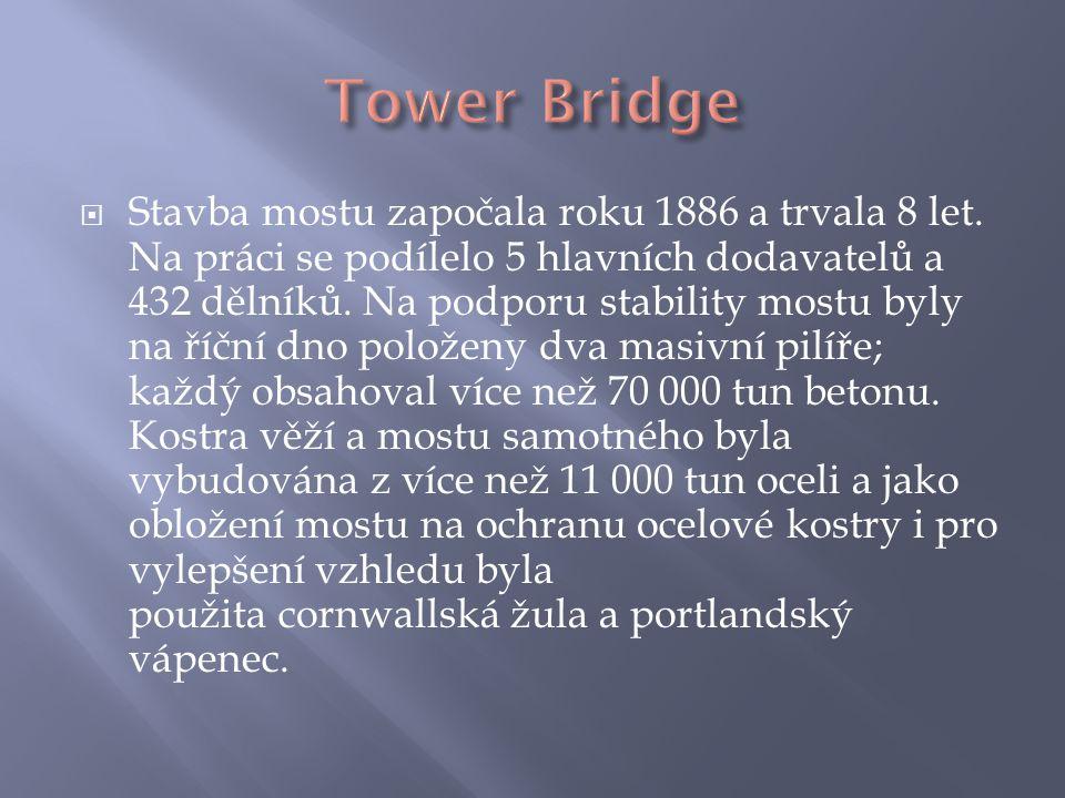  Stavba mostu započala roku 1886 a trvala 8 let. Na práci se podílelo 5 hlavních dodavatelů a 432 dělníků. Na podporu stability mostu byly na říční d