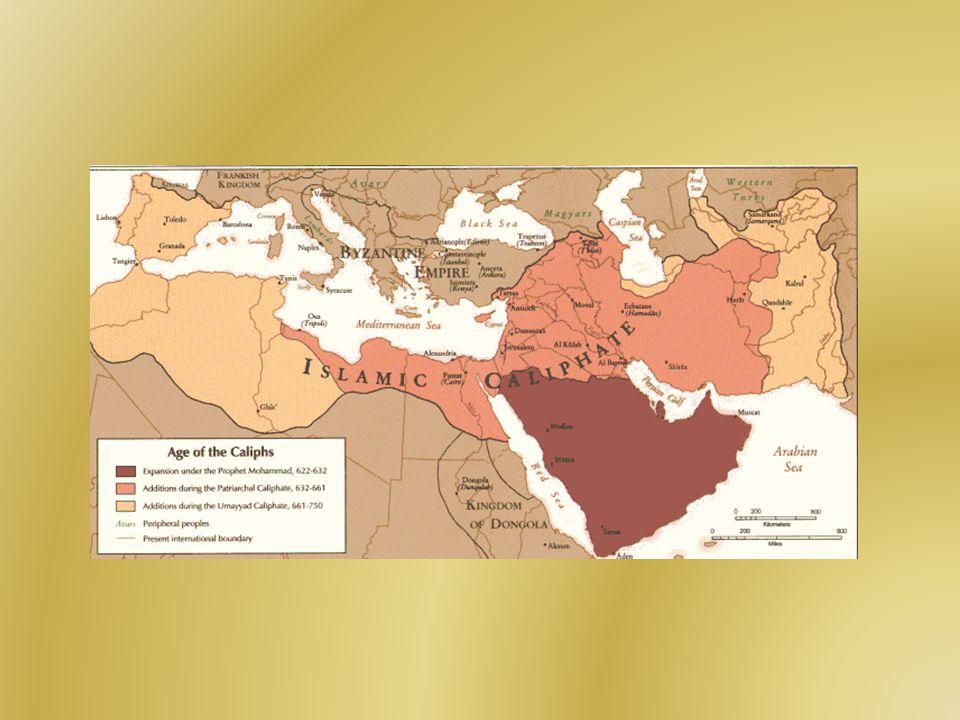 Ší ř ení islámu Dobytí římského Orientu 629 - vpád arabského vojska do Palestiny - spojenými silami Římanů a křesťanských Arabů poraženo 630 - Mekka dobyta Mohamedem 633 - další vpád Arabů do Sýrie a Palestiny, kalif Abú Bakr žádá velitele vojska v jižním Iráku o posily => odpor Římanů byl zlomen 634 - Arabové poráží římské vojsko Herakleiova bratra Theodora východně od Jeruzalému - Damašek dobyt Araby - nemuslimští obyvatelé nemuseli platit islámské daně (zakát), platily tzv.