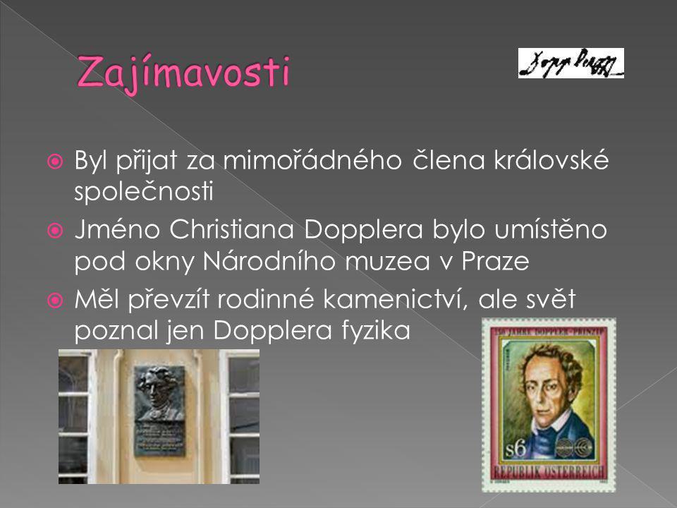  Byl přijat za mimořádného člena královské společnosti  Jméno Christiana Dopplera bylo umístěno pod okny Národního muzea v Praze  Měl převzít rodin