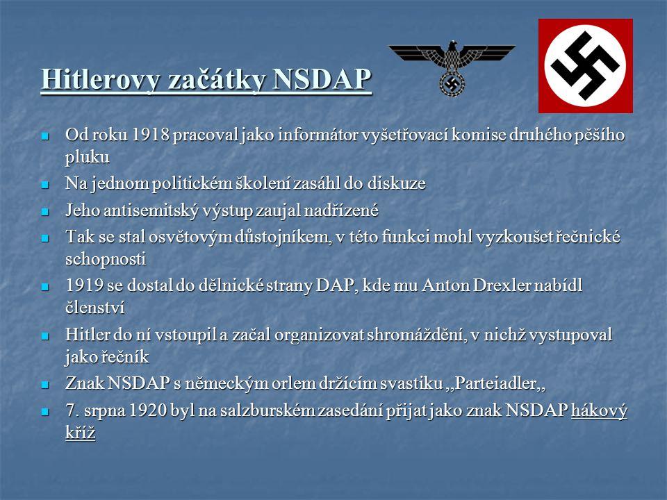 Hitlerovy začátky NSDAP Od roku 1918 pracoval jako informátor vyšetřovací komise druhého pěšího pluku Od roku 1918 pracoval jako informátor vyšetřovací komise druhého pěšího pluku Na jednom politickém školení zasáhl do diskuze Na jednom politickém školení zasáhl do diskuze Jeho antisemitský výstup zaujal nadřízené Jeho antisemitský výstup zaujal nadřízené Tak se stal osvětovým důstojníkem, v této funkci mohl vyzkoušet řečnické schopnosti Tak se stal osvětovým důstojníkem, v této funkci mohl vyzkoušet řečnické schopnosti 1919 se dostal do dělnické strany DAP, kde mu Anton Drexler nabídl členství 1919 se dostal do dělnické strany DAP, kde mu Anton Drexler nabídl členství Hitler do ní vstoupil a začal organizovat shromáždění, v nichž vystupoval jako řečník Hitler do ní vstoupil a začal organizovat shromáždění, v nichž vystupoval jako řečník Znak NSDAP s německým orlem držícím svastiku,,Parteiadler,, Znak NSDAP s německým orlem držícím svastiku,,Parteiadler,, 7.