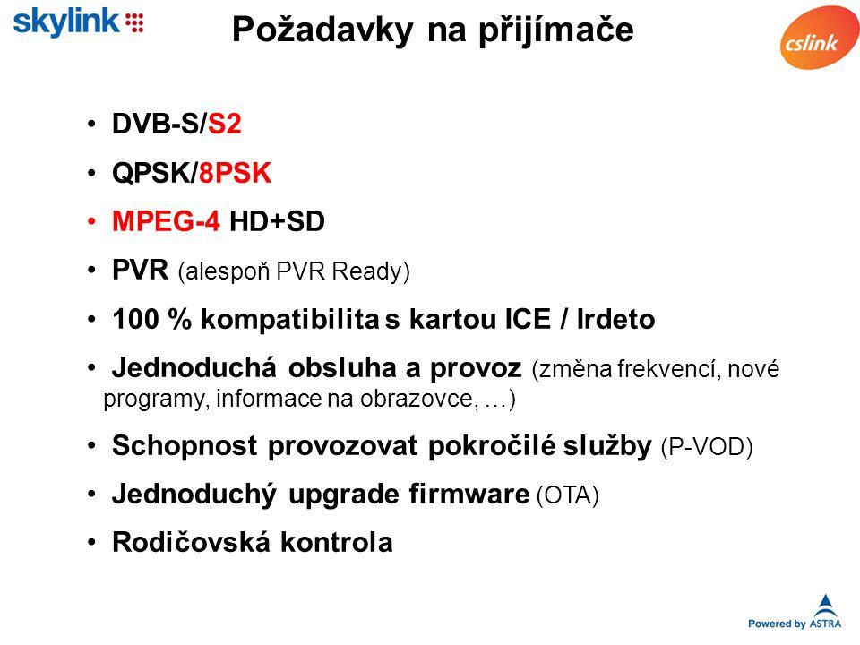 Požadavky na přijímače DVB-S/S2 QPSK/8PSK MPEG-4 HD+SD PVR (alespoň PVR Ready) 100 % kompatibilita s kartou ICE / Irdeto Jednoduchá obsluha a provoz (změna frekvencí, nové programy, informace na obrazovce, …) Schopnost provozovat pokročilé služby (P-VOD) Jednoduchý upgrade firmware (OTA) Rodičovská kontrola