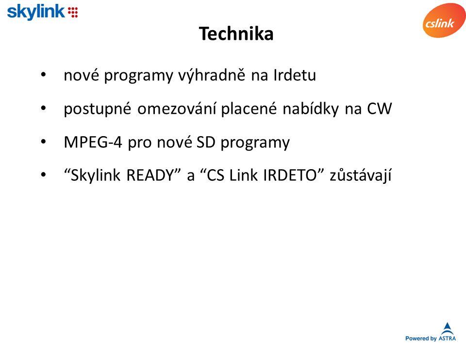nové programy výhradně na Irdetu postupné omezování placené nabídky na CW MPEG-4 pro nové SD programy Skylink READY a CS Link IRDETO zůstávají Technika