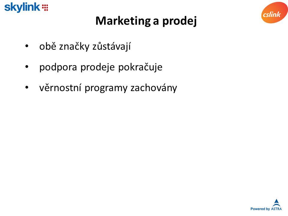 obě značky zůstávají podpora prodeje pokračuje věrnostní programy zachovány Marketing a prodej