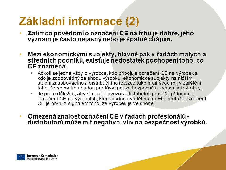 Základní informace (2) Zatímco povědomí o označení CE na trhu je dobré, jeho význam je často nejasný nebo je špatně chápán.