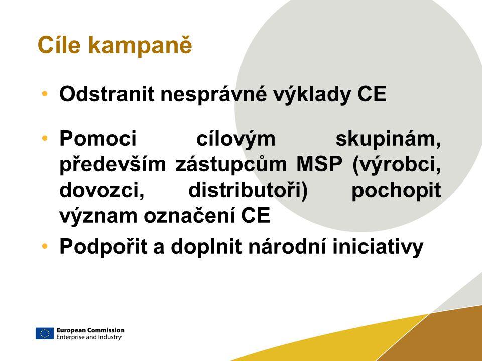 Cíle kampaně Odstranit nesprávné výklady CE Pomoci cílovým skupinám, především zástupcům MSP (výrobci, dovozci, distributoři) pochopit význam označení CE Podpořit a doplnit národní iniciativy