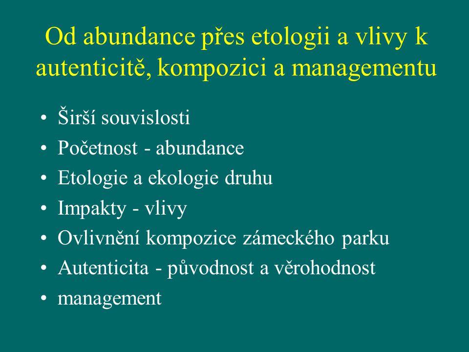 Od abundance přes etologii a vlivy k autenticitě, kompozici a managementu Širší souvislosti Početnost - abundance Etologie a ekologie druhu Impakty -