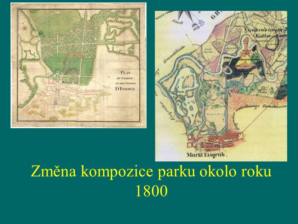 Změna kompozice parku okolo roku 1800