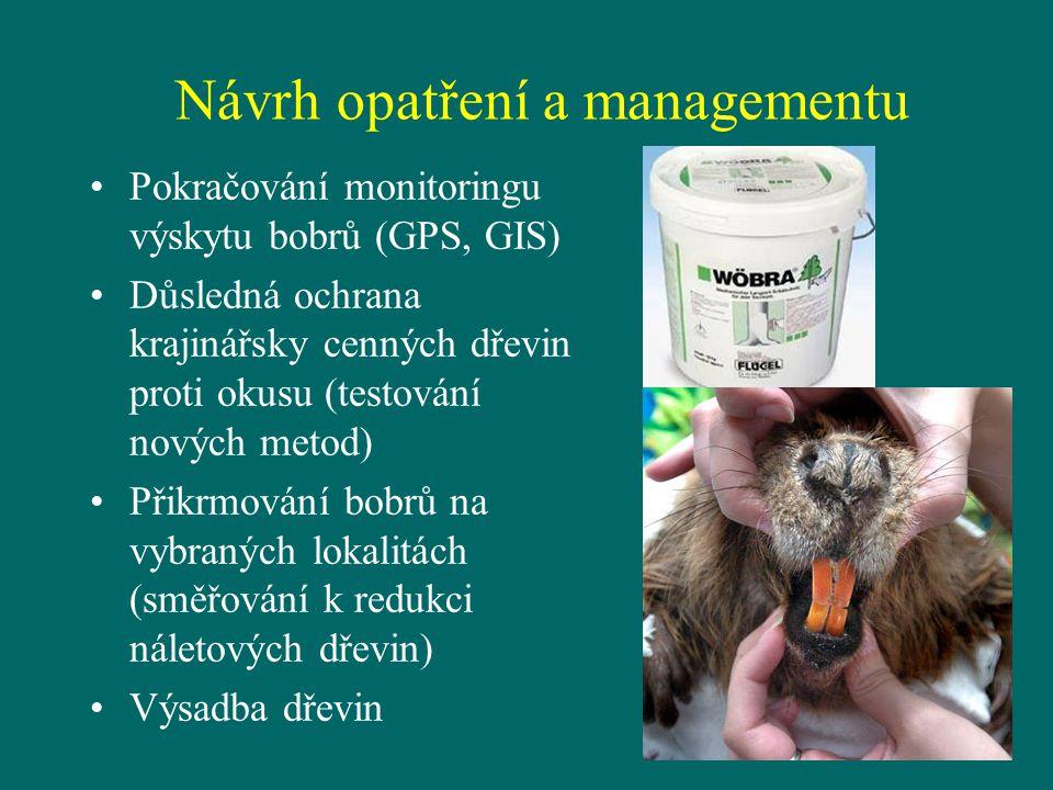 Návrh opatření a managementu Pokračování monitoringu výskytu bobrů (GPS, GIS) Důsledná ochrana krajinářsky cenných dřevin proti okusu (testování novýc