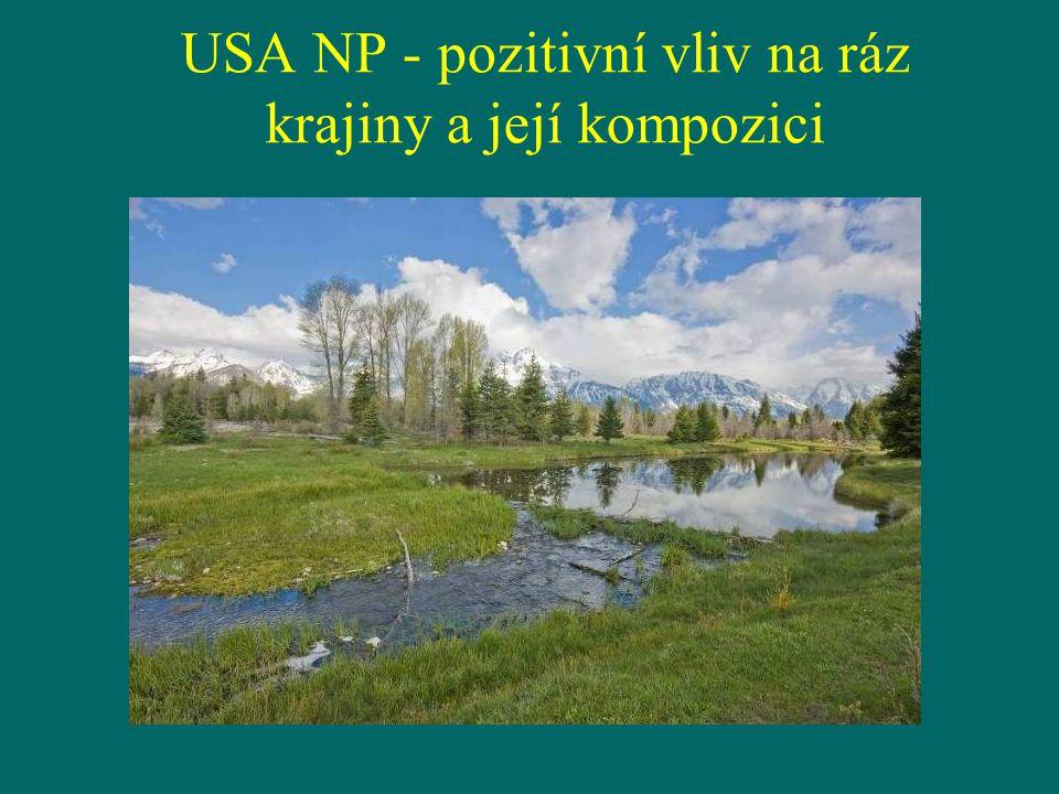 USA NP - pozitivní vliv na ráz krajiny a její kompozici