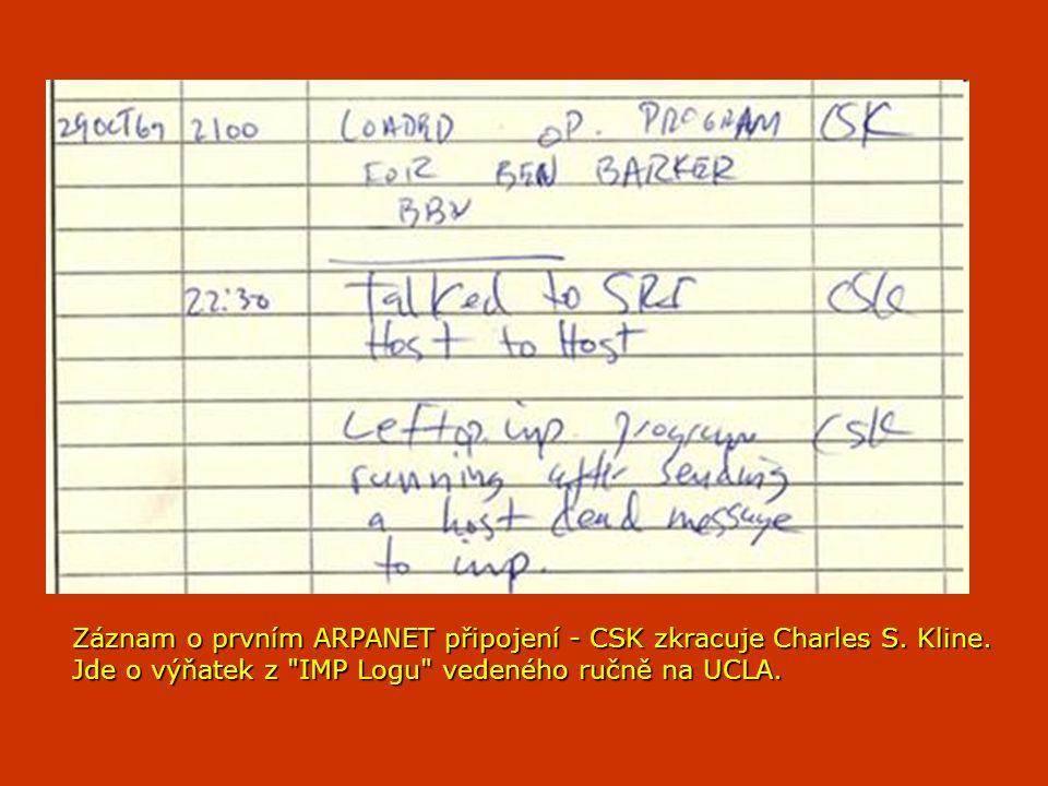 Záznam o prvním ARPANET připojení - CSK zkracuje Charles S. Kline. Jde o výňatek z