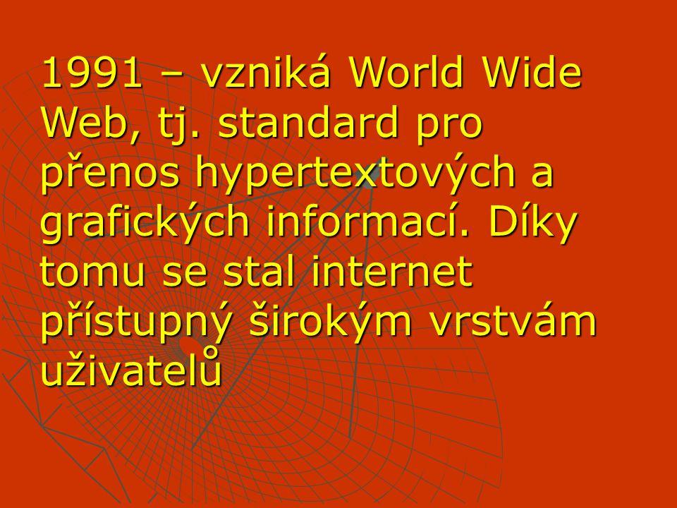 1991 – vzniká World Wide Web, tj. standard pro přenos hypertextových a grafických informací. Díky tomu se stal internet přístupný širokým vrstvám uživ