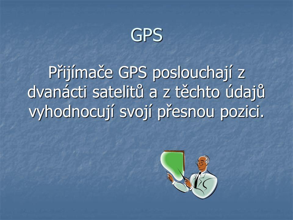 VYUŽITÍ GPS V autech, letadlech, na lodích V autech, letadlech, na lodích V oboru turistiky V oboru turistiky Mapové systémy Mapové systémy Systém může být umístěn: V hodinkách V hodinkách V mobilních telefonech V mobilních telefonech