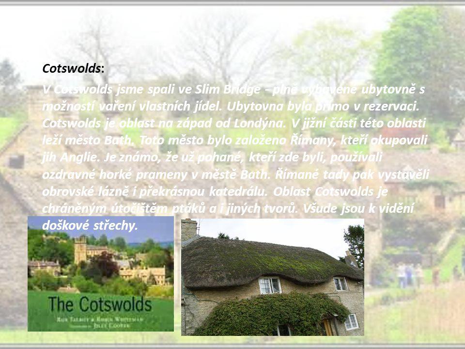 Cotswolds: V Cotswolds jsme spali ve Slim Bridge - plně vybavené ubytovně s možností vaření vlastních jídel.