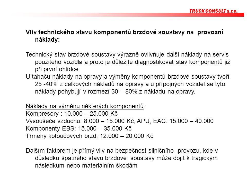 TRUCK CONSULT s.r.o. Vliv technického stavu komponentů brzdové soustavy na provozní náklady: Technický stav brzdové soustavy výrazně ovlivňuje další n