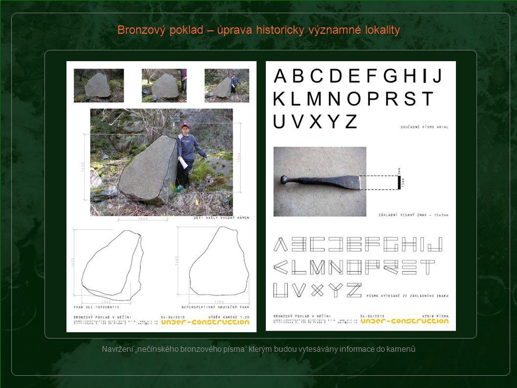 Návrh úryvku z knížky Bronzový poklad a jeho rozvržení, které bude vytesáno do velkého kamene na místě nálezu pokladu.
