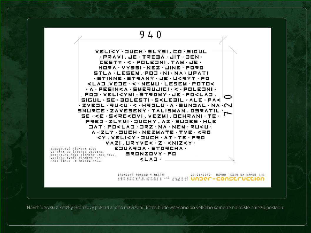 """Ukázka textu vytesaná """"bronzovým písmem do kamene."""