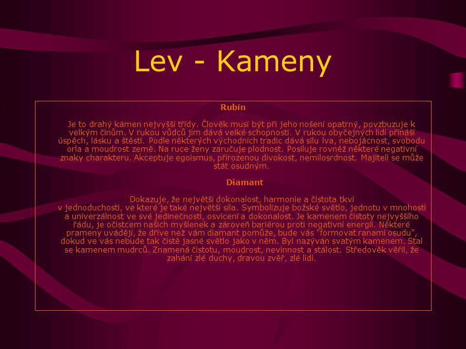 Lev - Kameny Rubín Je to drahý kámen nejvyšší třídy.