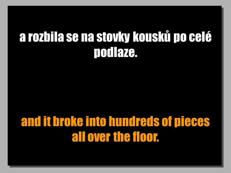 a rozbila se na stovky kousků po celé podlaze. and it broke into hundreds of pieces all over the floor.