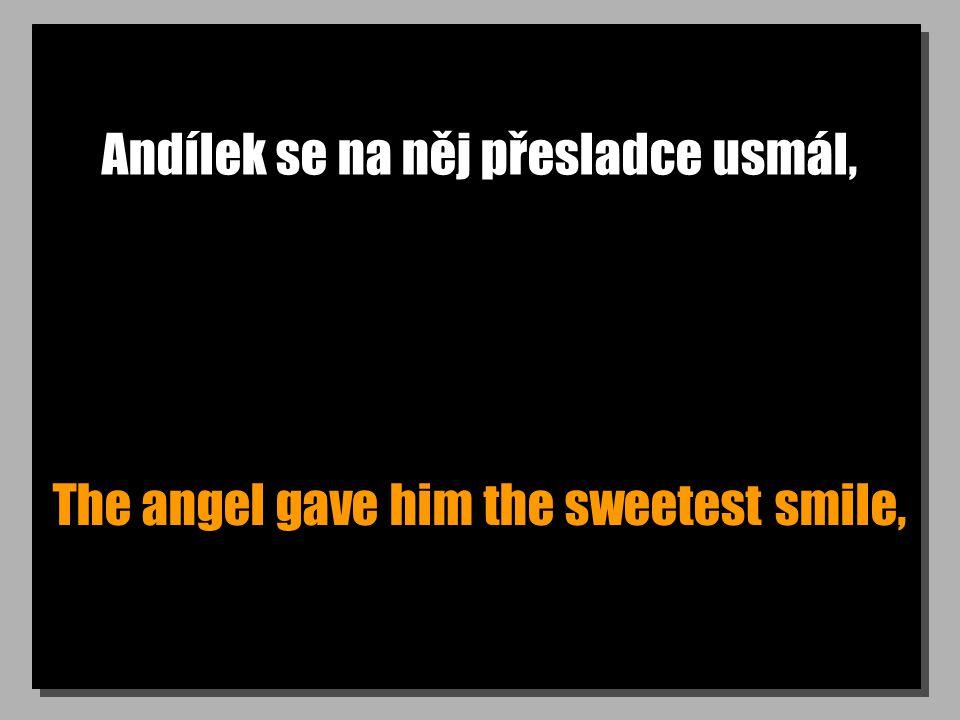 Andílek se na něj přesladce usmál, The angel gave him the sweetest smile,